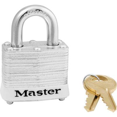 "Master Lock® 3LFWHT Laminated Steel Safety Padlock, 1-9/16""W x 1-1/2""H Shackle, White"