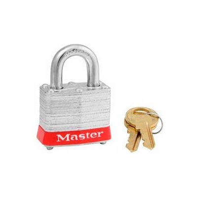 "Master Lock® Steel Padlock, No. 3 Reinforced Laminate, 1-9/16""W X 3/4"" Shackle, Red"