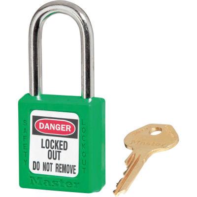 Master Lock® Thermoplastic Zenex™ 410KAS12GRN Safety Padlock, Green, 12/Set
