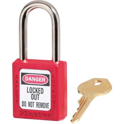 Master Lock® Thermoplastic Zenex™ 410KAS12RED Safety Padlock, Red, 12/Set