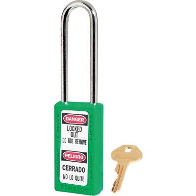 "Master Lock® Thermoplastic Zenex™ 411KALTGRN Safety Padlock, 1-1/2""W x 3""H Shackle, Green"