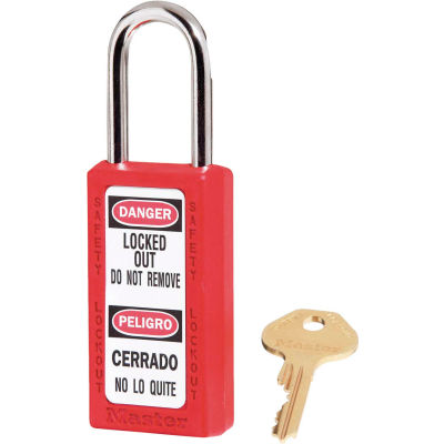 "Master Lock® Thermoplastic Zenex™ 411KAS3RED Safety Padlock, 1-1/2""W x 1-1/2""H Red, 3/Set"