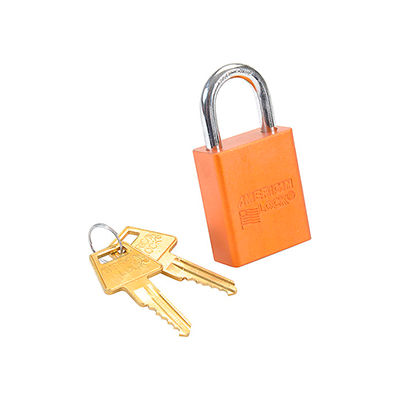 American Lock® No. A1105ORJ Solid Aluminum Rectangular Padlock, Orange - Pkg Qty 6
