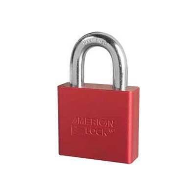 American Lock® No. A1305RED Solid Aluminum Rectangular Padlock - Red - Pkg Qty 24