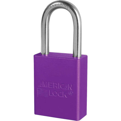 "American Lock® S1106KAS6PRP Aluminum Safety Padlock, 1-1/2""W x 1-1/2""H Shackle, Purple, 6/Set"
