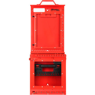 MasterLock® Permit Control Station With Group Lock Box, Wall Mounted, Red, S3500