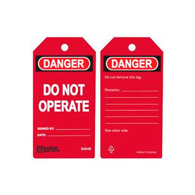 Master Lock® Safety Tag, Do Not Operate, Red