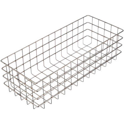 """Marlin Steel 316 Wire Basket 20-1/4""""L x 8-1/8""""W x 6""""H - Stainless Steel - Price Each for Qty 5+"""