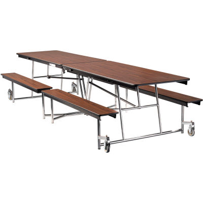 NPS® 12' Mobile Cafeteria Table with Benches - MDF - Walnut Top/Chrome Frame