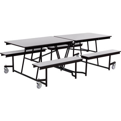 NPS® 8' Mobile Cafeteria Table with Benches - MDF - Gray Top/Black Frame
