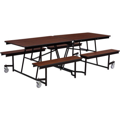 NPS® 12' Mobile Cafeteria Table with Benches - MDF - Walnut Top/Black Frame