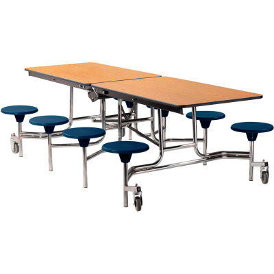 NPS® 8' Mobile Cafeteria Table with Stools - MDF - Oak Top/Blue Stools/Chrome Frame