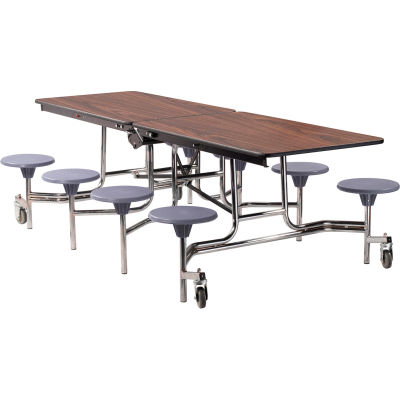 NPS® 8' Mobile Cafeteria Table with Stools - MDF - Walnut Top/Gray Stools/Chrome Frame