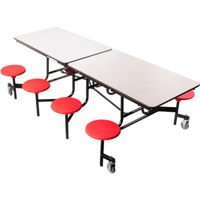 NPS® 8' Mobile Cafeteria Table with Stools - MDF - Gray Top/Red Stools/Black Frame