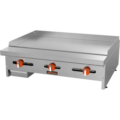 "Sierra Range SRMG-36 - Griddle, 36""W, 3 U-Shaped Burners, 23,000 BTU Each, 3/4"" Polished Steel Plate"