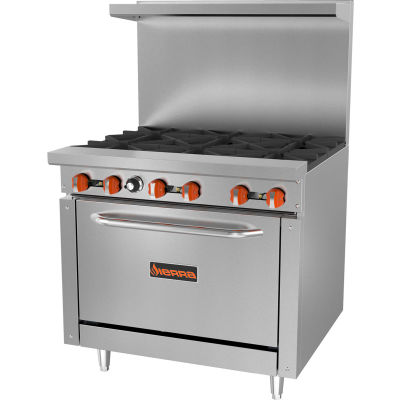 Sierra Range SR-6-36 - Restaurant Range, 6 Burners, Natural Gas, Oven, S/S, Cast Iron Burners