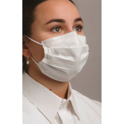 Defend® MK-7320 Level 3 Dual Fit Ear-Loop Face Mask, Pleated, White, 50/Box