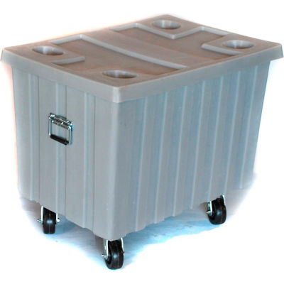 """Myton Bulk Shipping Poly Container MTE-2H5HL With Lid and Casters 41""""L x 28-1/4""""W x 32-1/2""""H, Gray"""
