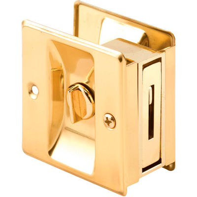Prime-Line N 6771 Pocket Door Privacy Lock with Pull, Polished Brass