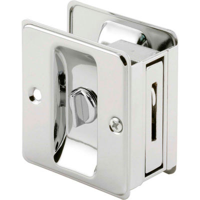 Prime-Line N 6773 Pocket Door Privacy Lock with Pull, Chrome Plated