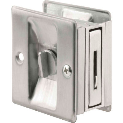 Prime-Line N 7161 Pocket Door Privacy Lock with Pull, Satin Chrome