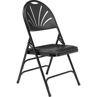 National Public Seating Plastic Folding Chair - Triple Brace - Black - Pkg Qty 4