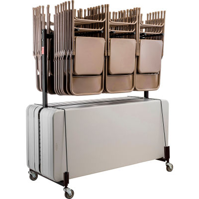 Interion® Chair and Table Cart - Double Tier - Holds 42 Chairs & 8-10 Tables