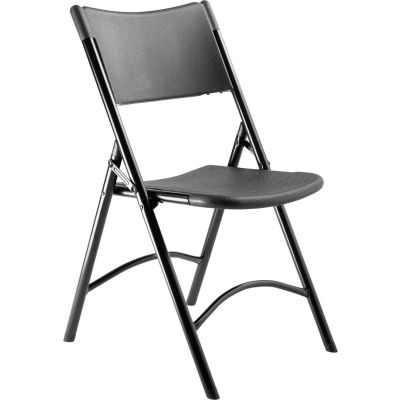 NPS® Heavy Duty Plastic Folding Chair - Black - 600 Series - Pack of 4