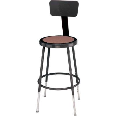 "Interion® Steel Shop Stool w/Backrest and Hardboard Seat - Adjustable Height 19""-27"" - Black - 2PK"