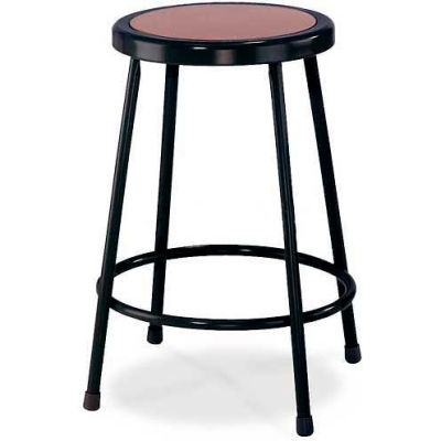 "Interion® 24""H Steel Work Stool with Hardboard Seat - Backless - Black - Pack of 2"