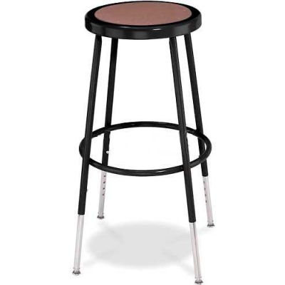 """Interion® Steel Shop Stool with Hardboard Seat - Adjustable Height 25""""-33"""" - Black - Pack of 2"""