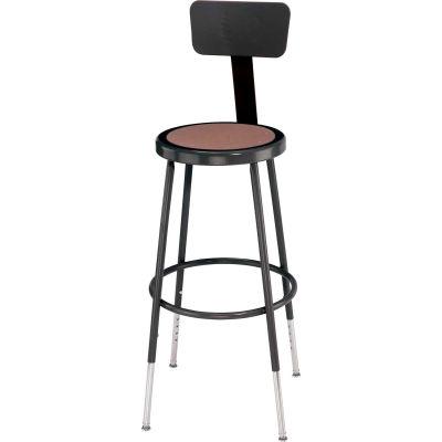 "Interion® Steel Shop Stool w/Backrest & Hardboard Seat - Adjustable Height 25""-33"" -Black - 2PK"