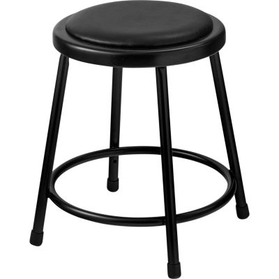 "Interion® 18"" Steel Work Stool with Vinyl Seat - Backless - Black - Pack of 2"