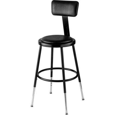 "Interion® Steel Shop Stool w/Backrest & Padded Seat - Adjustable Height 19""-27"" - Black - 2PK"
