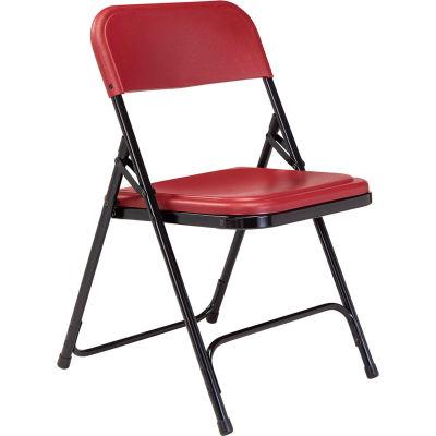 National Public Seating Plastic Folding Chair - Burgundy Seat/Black Frame - Pkg Qty 4