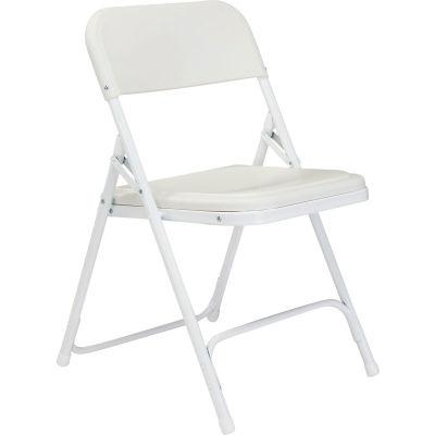 National Public Seating Plastic Folding Chair - White Seat/White Frame - Pkg Qty 4