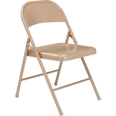 Interion® Folding Chair, Steel, Beige - Pkg Qty 4