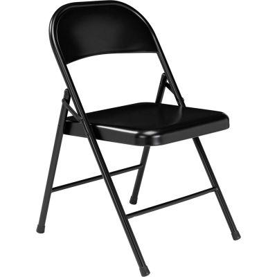 Interion® Folding Chair, Steel, Black - Pkg Qty 4