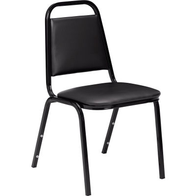 """NPS Stacking Chair - 1-1/2"""" Vinyl Seat - Square Back - Black Seat with Black Frame - Pkg Qty 4"""