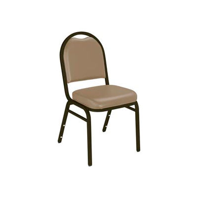 """NPS Banquet Stacking Chair - 2"""" Vinyl Seat - Dome Back - Beige Seat with Brown Frame"""