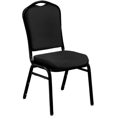 """NPS Banquet Stacking Chair - 2"""" Fabric Seat - Silhouette Back - Black Seat with Black Frame - Pkg Qty 4"""