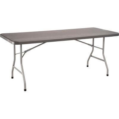 """National Public Seating® Heavy Duty Folding Plastic Table, 30"""" x 72"""", Charcoal"""