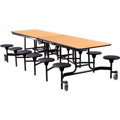 NPS® 10' Mobile Cafeteria Table with Stools - MDF - Oak Top/Black Stools/Black Frame
