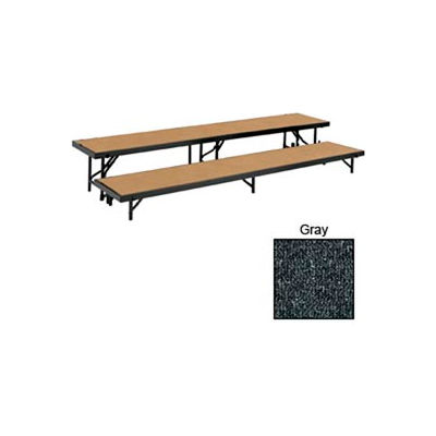 "2 Level Straight Riser with Carpet - 96""L x 18""W - 8""H & 16""H - Grey"