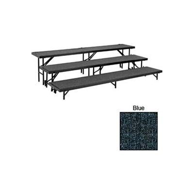 "3 Level Tapered Riser with Carpet - 60""L x 18""W - 8""H, 16""H & 24""H - Blue"