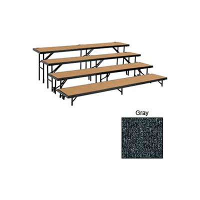 """4 Level Tapered Riser with Carpet - 60""""L x 18""""W - 8""""H, 16""""H, 24""""H & 32""""H - Grey"""