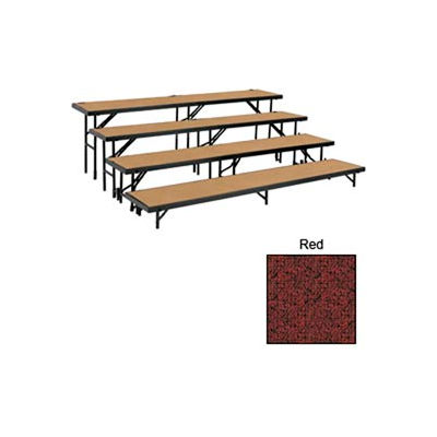 """4 Level Tapered Riser with Carpet - 60""""L x 18""""W - 8""""H, 16""""H, 24""""H & 32""""H - Red"""