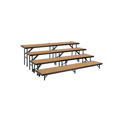 """4 Level Tapered Riser with Hardboard - 60""""L x 18""""W - 8""""H, 16""""H, 24""""H & 32""""H"""