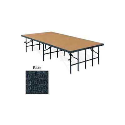 """Portable Stage with Carpet - 96""""L x 36""""W x 32""""H - Blue"""