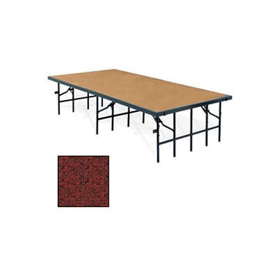 """Portable Stage with Carpet - 96""""L x 36""""W x 32""""H - Red"""
